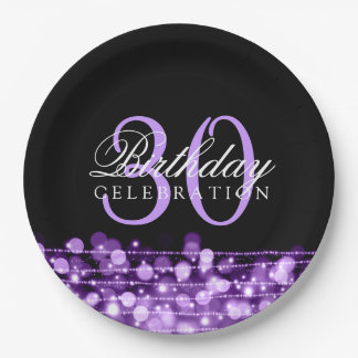 Elegant 30th Birthday Party Sparkles Purple 9 Inch Paper Plate