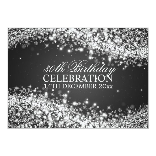 Elegant 30th Birthday Party Sparkling Wave Black Card