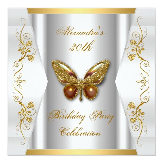Elegant 30th Birthday Party White Gold Butterfly Card