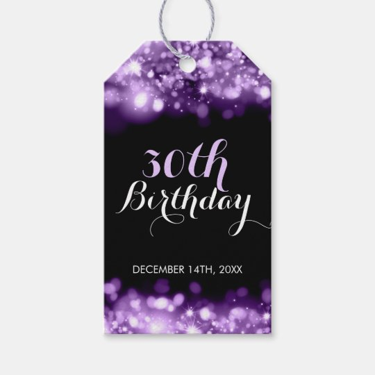 Elegant 30th Birthday Purple Sparkling Lights Gift Tags