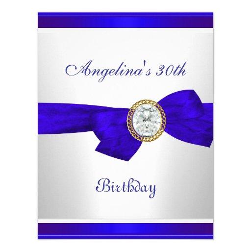 Elegant 30th Birthday Royal Blue White Diamond Custom Announcements