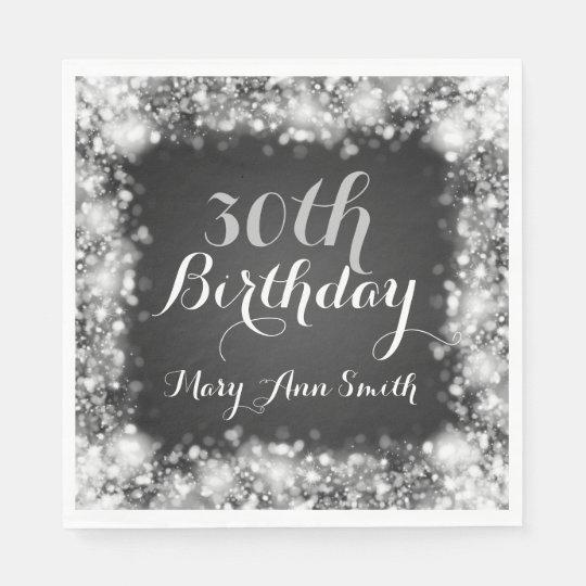 Elegant 30th Birthday Silver Sparkling Lights Paper Napkin