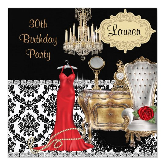 Elegant 30TH BIRTHDAY VINTAGE BLING Invitation