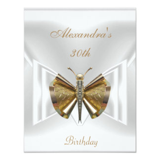 Elegant 30th Birthday White Gold Dragonfly Jewel 11 Cm X 14 Cm Invitation Card