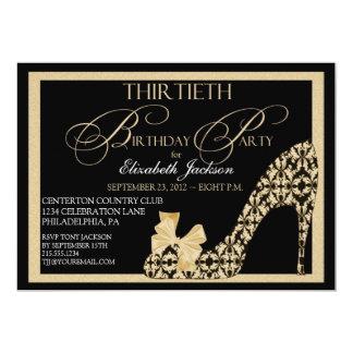Elegant 30th Gold & Black Damask Shoe Invitation
