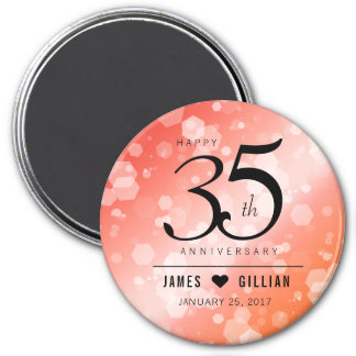 Elegant 35th Coral Wedding Anniversary Celebration Magnet