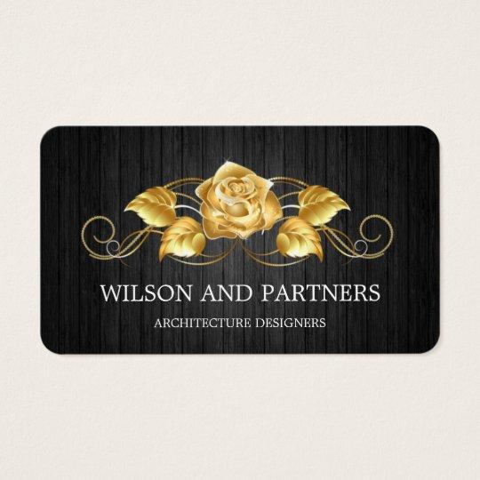 Elegant 3D Black Gold Rose Designer Business Card