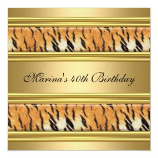 Elegant 40th Birthday Black Gold Tiger Stripe 13 Cm X 13 Cm Square Invitation Card