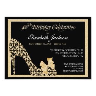 Elegant 40th Birthday Damask Shoe Invitation