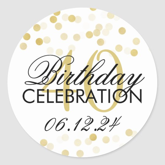 Elegant 40th Birthday Gold Foil Glitter Lights Classic