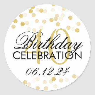 Elegant 40th Birthday Gold Foil Glitter Lights Round Sticker