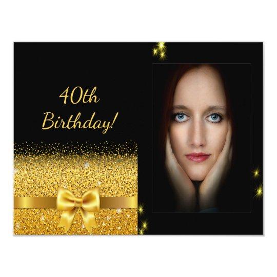 Elegant 40th birthday invitation black gold photo