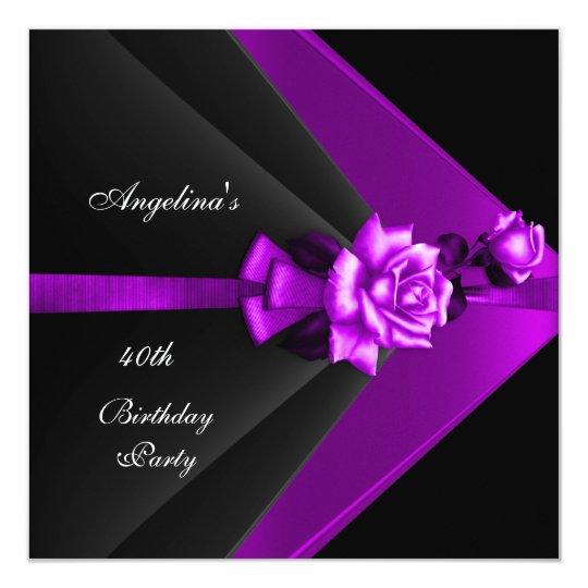 Elegant 40th Birthday Party Black Purple Rose Card