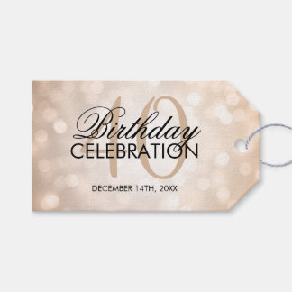 Elegant 40th Birthday Party Copper Glitter Lights Gift Tags