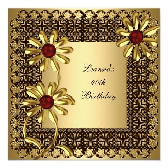 Elegant 40th Birthday Party Exotic Gold Floral Card
