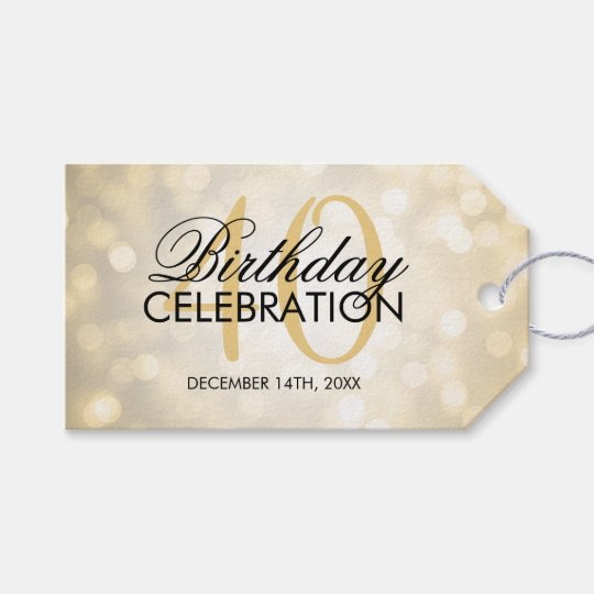 Elegant 40th Birthday Party Gold Glitter Lights Gift