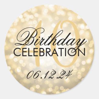 Elegant 40th Birthday Party Gold Glitter Lights Round Sticker