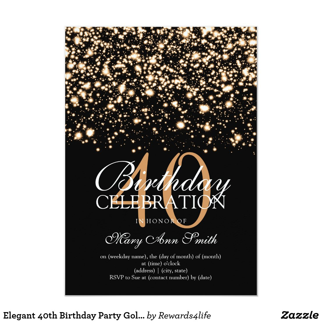 Elegant 40th Birthday Party Gold Midnight Glam
