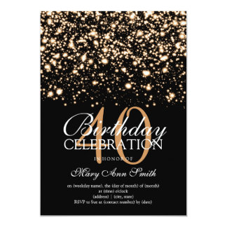 Elegant 40th Birthday Party Gold Midnight Glam Card