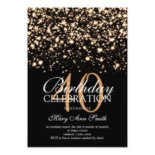 Elegant 40th Birthday Party Gold Midnight Glam Invitation