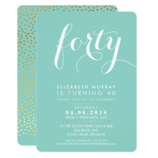 ELEGANT 40TH birthday party INVITE script mint