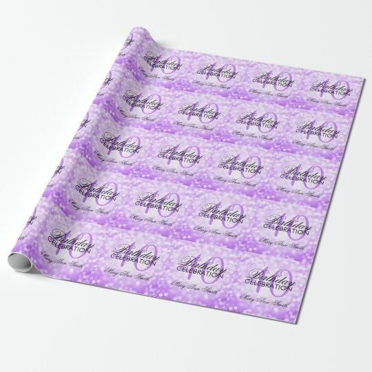 Elegant 40th Birthday Party Purple Glitter Lights Wrapping