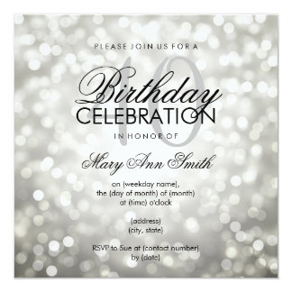 Elegant 40th Birthday Party Silver Glitter Lights Card