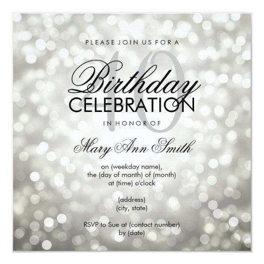 Elegant 40th Birthday Party Silver Glitter Lights Card