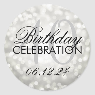 Elegant 40th Birthday Party Silver Glitter Lights Classic Round Sticker