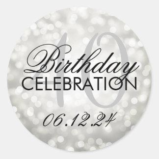 Elegant 40th Birthday Party Silver Glitter Lights Round Sticker