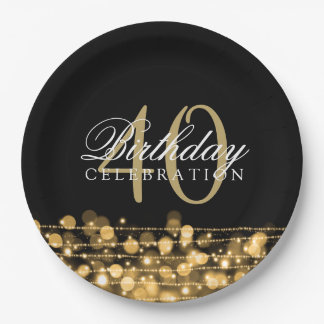 Elegant 40th Birthday Party Sparkles Gold 9 Inch Paper Plate
