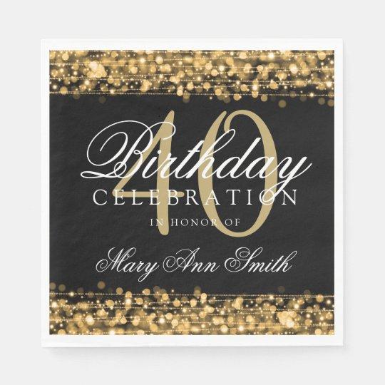Elegant 40th Birthday Party Sparkles Gold Disposable Serviette