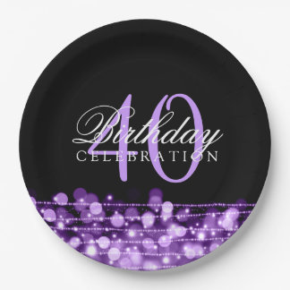Elegant 40th Birthday Party Sparkles Purple 9 Inch Paper Plate