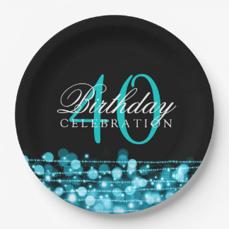 Elegant 40th Birthday Party Sparkles Turquoise 9 Inch Paper Plate