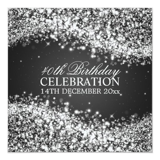 Elegant 40th Birthday Party Sparkling Wave Black Card
