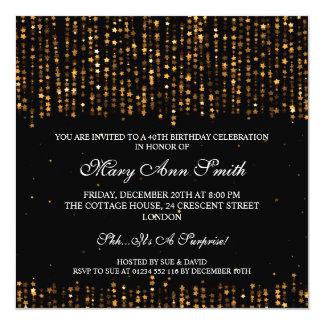 Elegant 40th Birthday Party Star Confetti Gold 13 Cm X 13 Cm Square Invitation Card