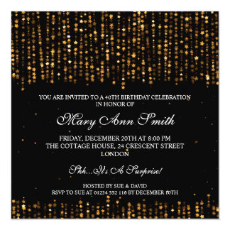 Elegant 40th Birthday Party Star Confetti Gold Card