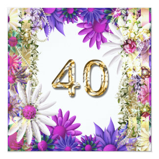 "Elegant 40th floral birthday engagement 5.25"" square invitation card"