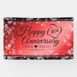 Elegant 40th Ruby Wedding Anniversary Celebration Banner