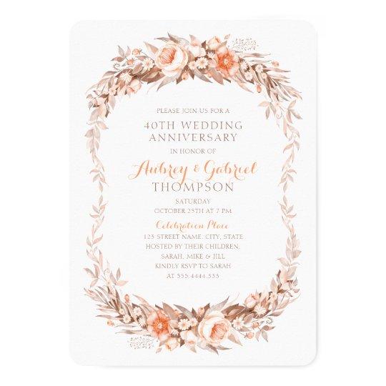 Elegant 40th Wedding Anniversary Floral Fall Card