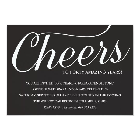 Elegant 40th Wedding Anniversary Party Invitation