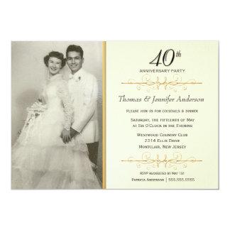 Elegant 40th Wedding Anniversary Party Invitations