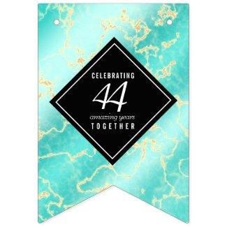 Elegant 44th Turquoise Wedding Anniversary Bunting
