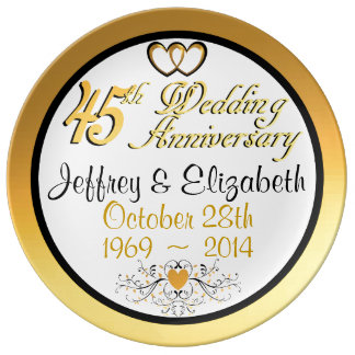 Elegant 45th Anniversary Porcelain Plate