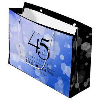 Elegant 45th Sapphire Wedding Anniversary Large Gift Bag