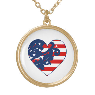Elegant 4th of July damask Gold Plated Necklace
