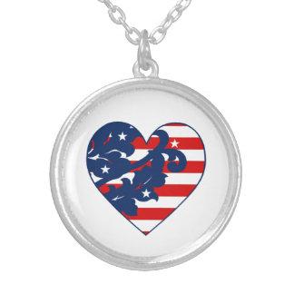 Elegant 4th of July damask Round Pendant Necklace