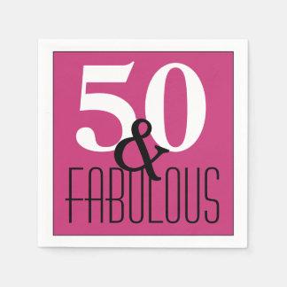 Elegant 50 and Fabulous Birthday Birthday Paper Serviettes