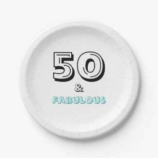 Elegant 50 and Fabulous Birthday Party Paper Plate