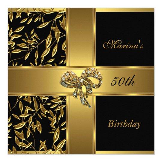Elegant 50th Birthday Black Gold Floral Bow 2